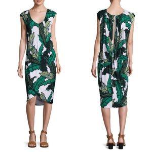 Tracy Reese Palm Print Shirred Cocoon Midi Dress